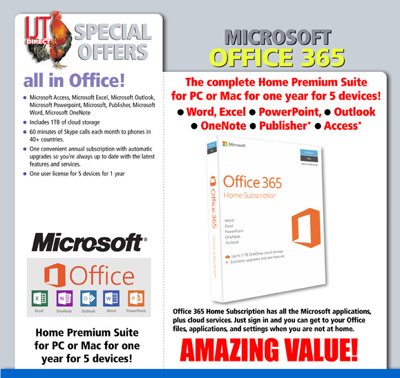 Microsoft Office 365 Home PC/MAC 1YR 5 Devices - IJT Direct