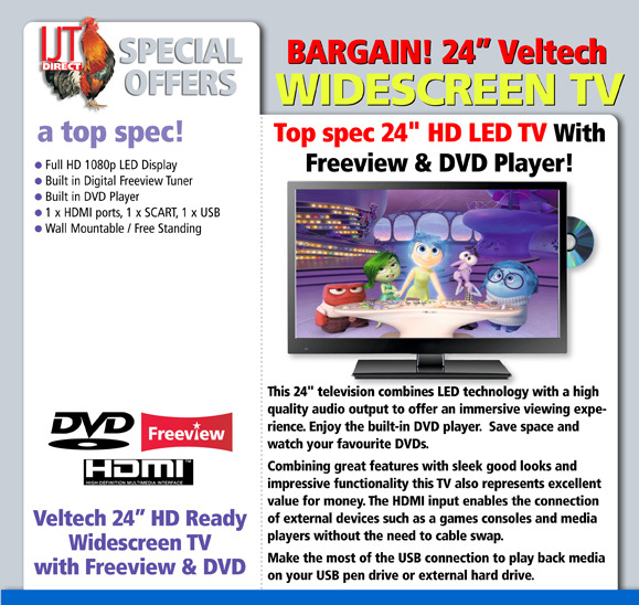 """Portable Tv With Freeview And Dvd Portable Toddler Travel Bed Portable Public Urinal Portable Satellite Tv Near Me: Veltech 24"""" HD LED TV + Freeview And DVD Player"""