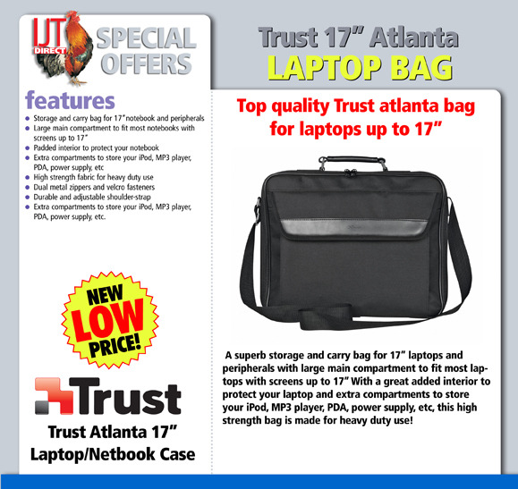 Trust Atlanta 17.3 Notebook Laptop Carry Bag - Courier Style - Mono