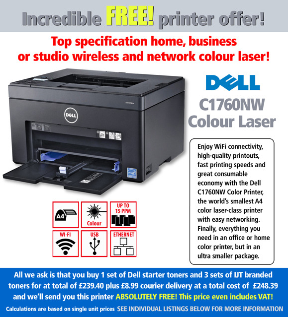 free dell 1760nw printer deal with 3 sets of toner ijt direct