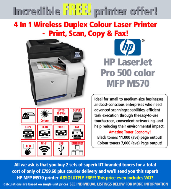 HP Laserjet Pro 500 Color M570DN Printer with 2 sets of toner