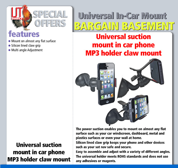 Universal suction mount in car phone mp3 holder claw mount