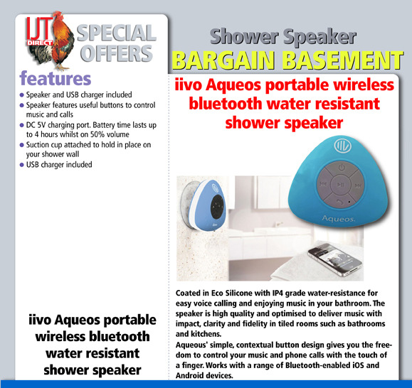 iivo Aqueos portable wireless bluetooth water resistant shower