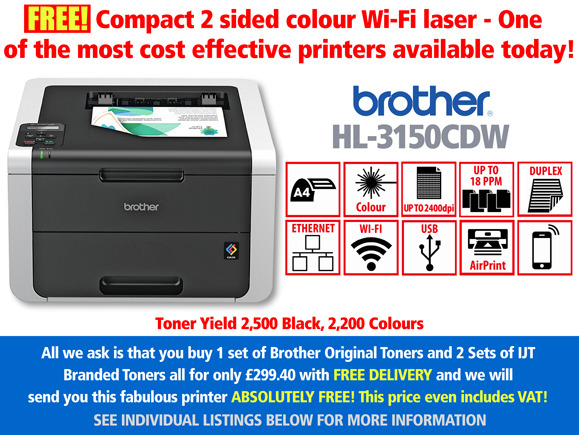 Cheapest Brother Laser Printer HL-3150CDW, with 2 sets of