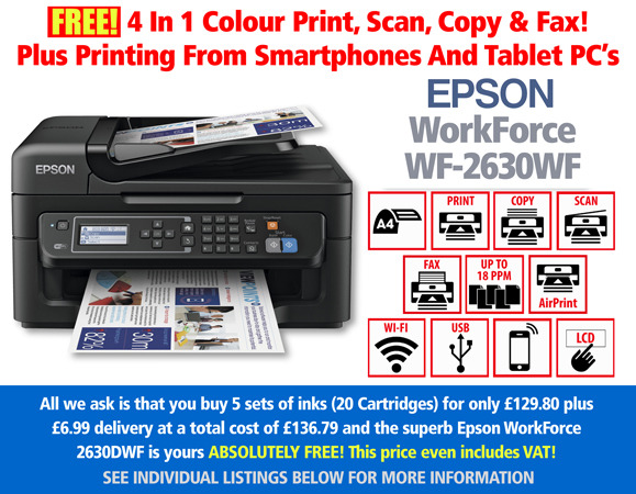 Cheapest Epson WorkForce WF-2630WF Printer with 5 sets of