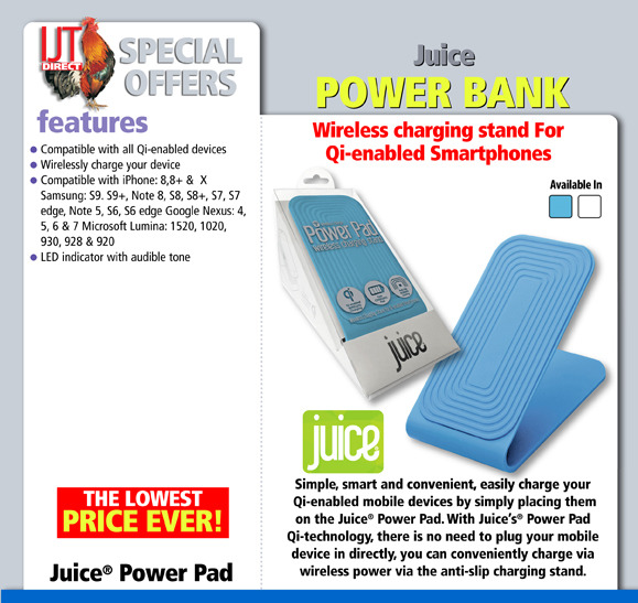 Juice Power Pad QI Wireless Smart Phone Charger with No Slip Stand