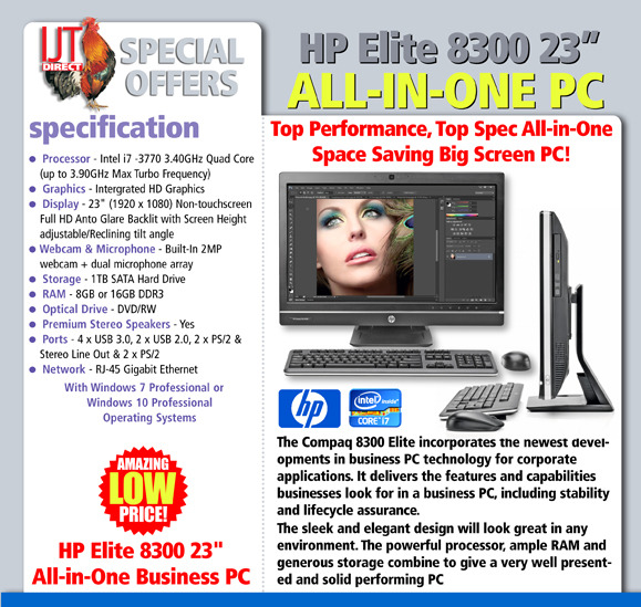 HP Elite 8300 23 Touchscreen All in One Business PC Quad Core i7-3770 3.4GHz Processor 16GB RAM 1TB HDD Windows 7 & 10 Professional