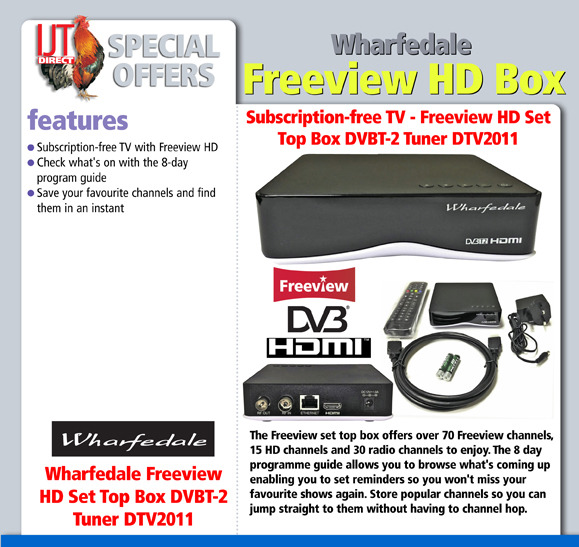Wharfedale Freeview HD Set Top Box DVBT-2 Tuner DTV2011