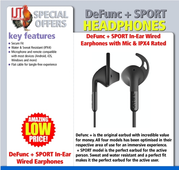 DeFunc + SPORT In-Ear Earphones Wired with Mic & IPX4 Rated - Black