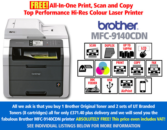 Free Brother DCP-9140CDN Printer Deal: With 3 Full Sets of Toner
