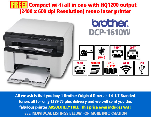 Free Brother DCP-1610W Print Scan & Copy Deal: With 4 toners