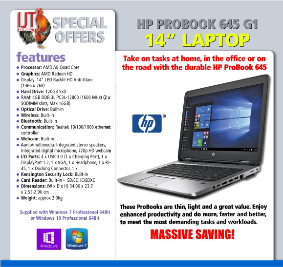 HP ProBook 645 G1 14 Quad Core Laptop supplied with Windows 7 or 10 Professional