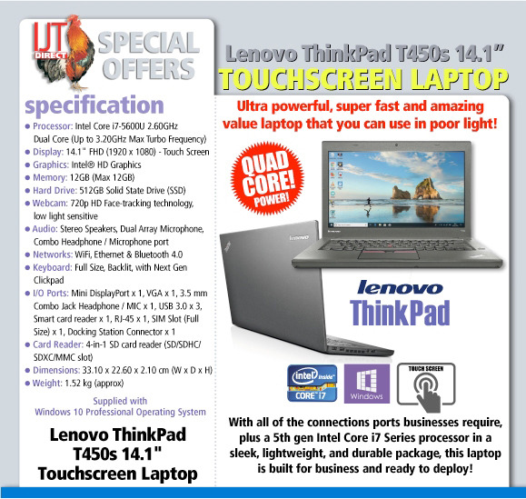 Lenovo ThinkPad T450s 14.1 Touchscreen Laptop with Windows 10 Professional