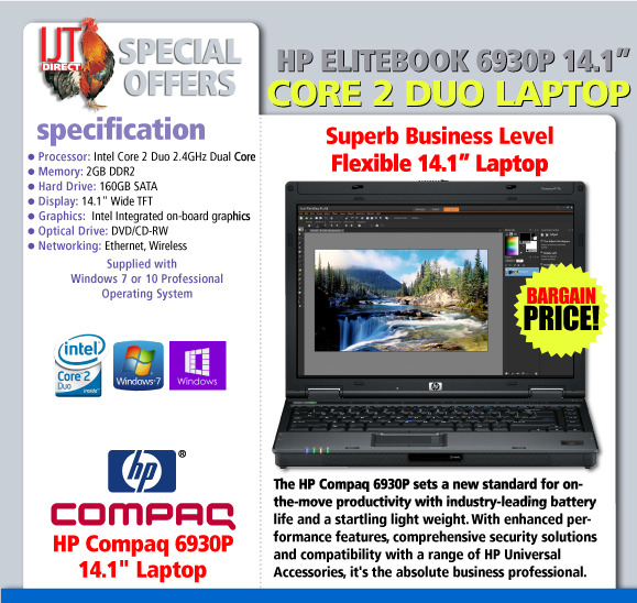 HP EliteBook 6930p 14.1 Laptop with Windows 7 or 10 Professional