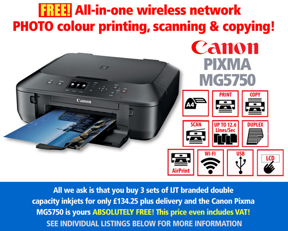 Free Canon Pixma MG5750 Printer Deal: Black, with 3 sets of Ink