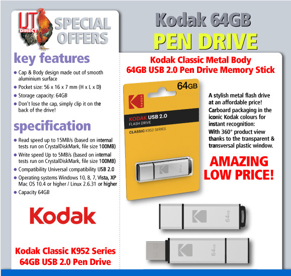 Cheap 64gb K952 Pen drive, by Kodak. Buy online for under £10