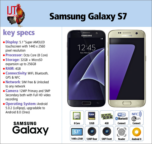 Big screen Samsung Galaxy S7 32GB avaliable in Black or Gold from £119.95