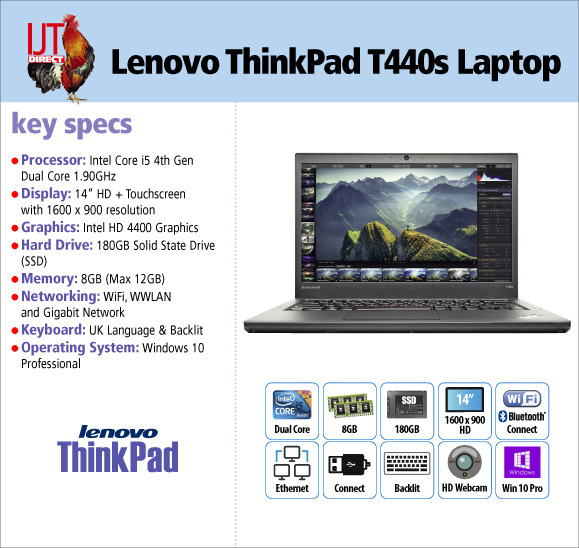 Work fast almost anywhere with a backlit keyboard, a 4th gen i5 processor, 8GB RAM & a 180GB SSD. Our Lenovo ThinkPad T440s are £299.95