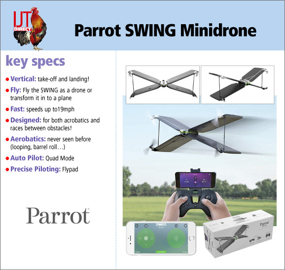 Easy and fun to fly Parrot Swing Quadcopter Minidrone aeroplane for only £29.95
