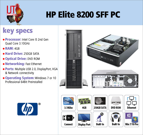 HP Elite 8200 SFF Desktop PC Quad Core i5 processor 4GB RAM 250GB hard drive and Windows 7 or 10 Professional from £149.95