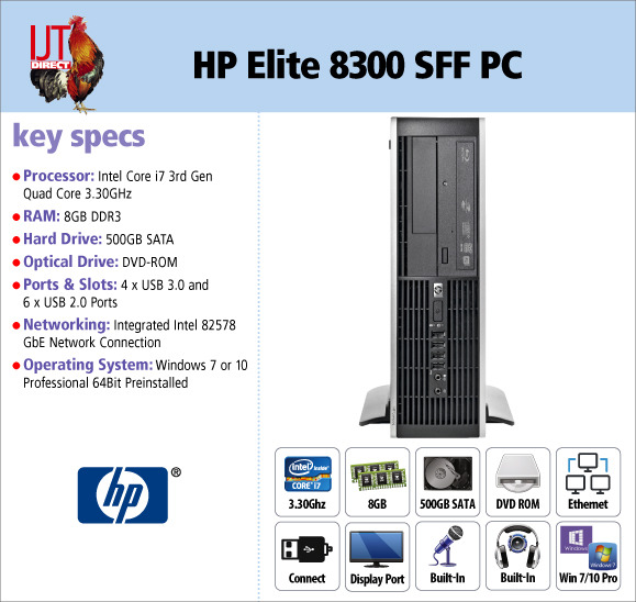 HP Elite 8300 Small Form Factor (SFF) PC with an i7 Quad Core processor, 8GB RAM and Windows 7 or 10 Pro from £249.95