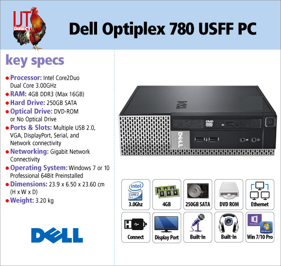 Dell Optiplex 780 Ultra Small Form Factor PC Windows 7 or 10