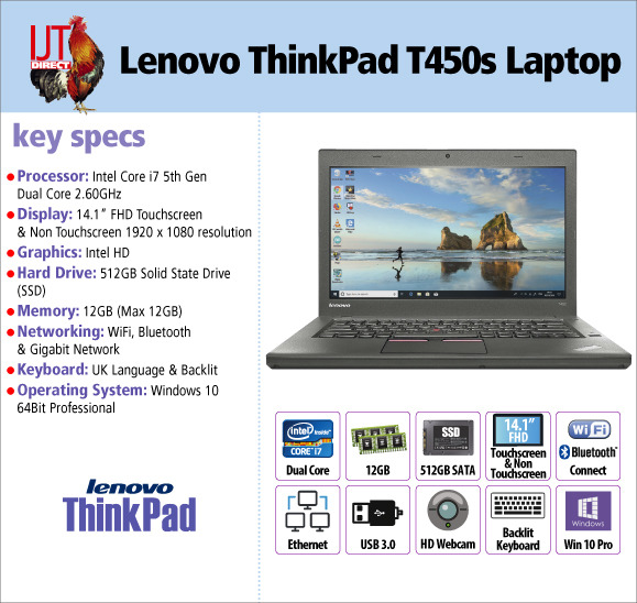 Lenovo ThinkPad T450s 14.1 Laptop with huge 12GB RAM, 512GB SSD & backlit keyboad from £549.95