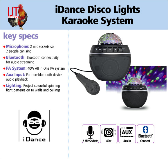 iDance Party Ball Disco Lights Speaker and Karaoke System with Microphone for only £29.95