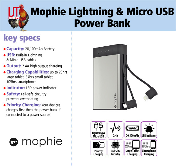 Mophie Encore Plus 20K 20,100mAh Built-in Lightning & Micro USB cable back up battery power bank new for only £29.95