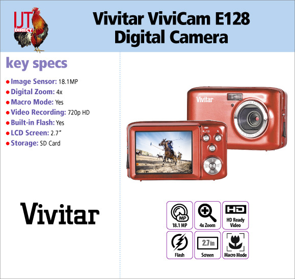Vivitar ViviCam E128 18.1MP Digital Camera 4x Digital Zoom 2.7\
