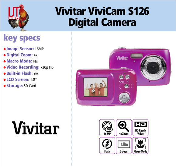 Vivitar ViviCam S126 16MP Digital Camera 4x Digital Zoom 1.8\