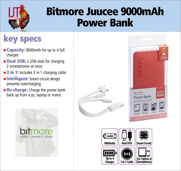 Bitmore Juucee 9000mAh Dual USB Battery Backup Power Bank for smartphone & tablet for only £8.95