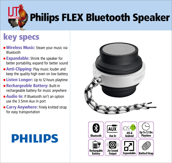 Philips FLEX Rugged Bluetooth Portable Expanding Wireless Speaker with Aux In brand new for £19.95