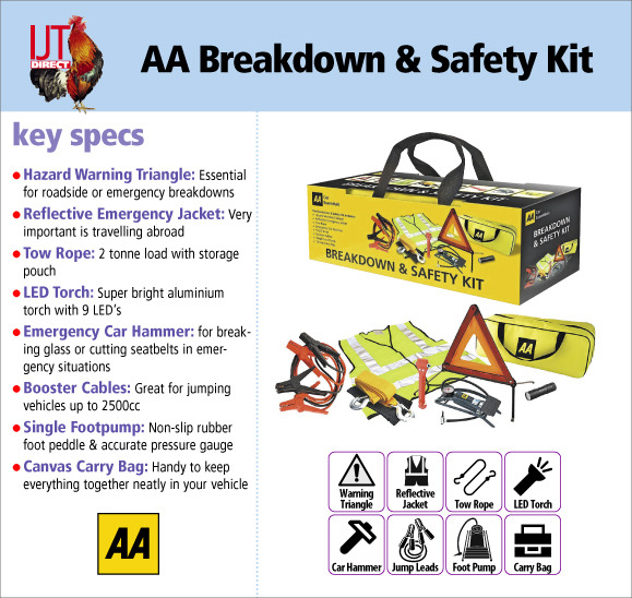AA Breakdown & Road Safety Kit 15595 with Footpump and 6 other safety items for only £19.95