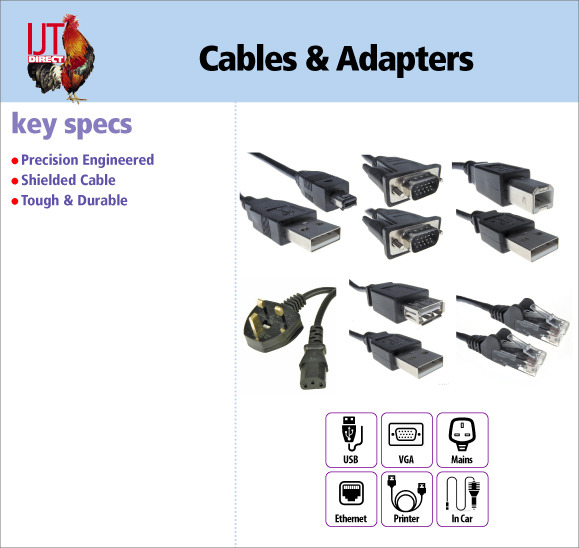 A selection of computer cables and adapters including USB,  VGA, Ethernet, Printer and mains cables