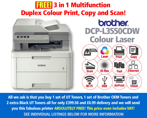 Free Brother DCP-L3550CDW Printer Deal: 2 Full Sets of Toner + 2 Extra Black Toners