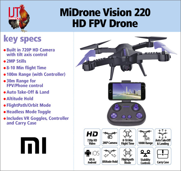 MiDrone Vision 220 HD 720p FPV Wi-Fi Smart Drone with VG Goggles, controller and carry case for £39.95