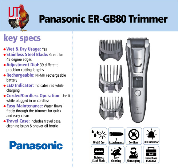 Panasonic ER-GB80 Wet & Dry Hair, Beard & Body Trimmer with attachments and travel case for £39.95