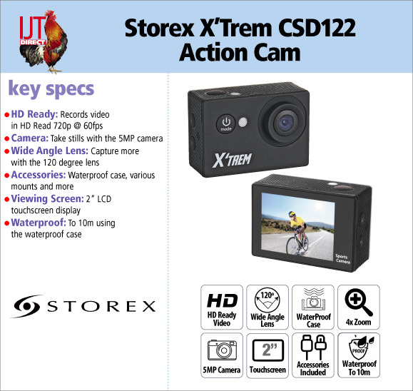 Storex X\'Trem CSD122 HD 720p Action Cam camera with Accessories brand new for £24.95