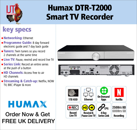 Humax DTR-T2000 1TB Smart HD Freeview TV Recorder on demand and netflix brand new for £119.95