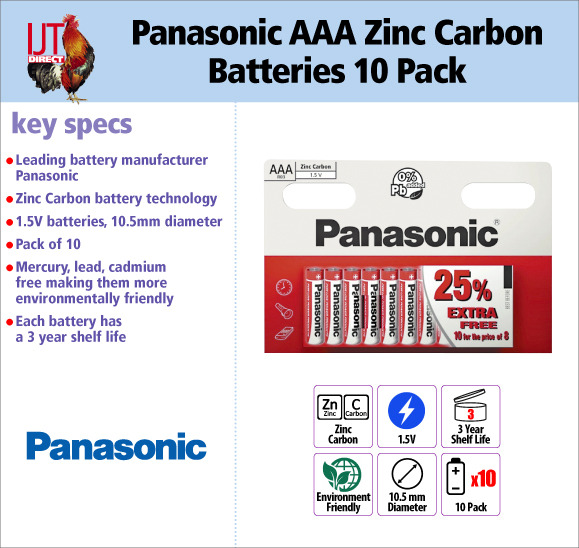 Panasonic AAA Zinc Carbon 1.5V environmentally friendly Batteries 10 Pack for only £5.95