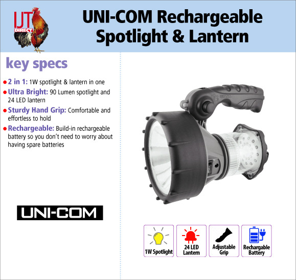 UNI-COM Rechargeable 2 in 1 1W Spotlight 90 LumenTorch & 24 LED Lantern with adjustable handle for £14.95