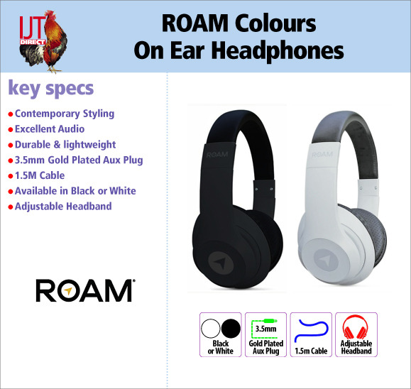 ROAM Colours On Ear Wired Headphones available in Black or White for £19.95 brand new