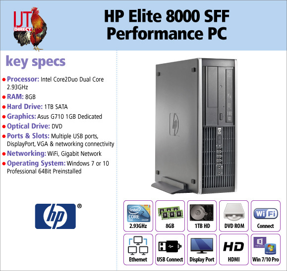 HP Elite 8000 SFF Performance Desktop PC with WiFi 8GB RAM and 1GB graphics supplied with Windows 7 or 10 Professional from £169.95
