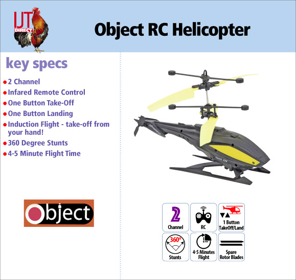Object Radio Controlled RC Toy Helicopter with spares brand new for £9.95