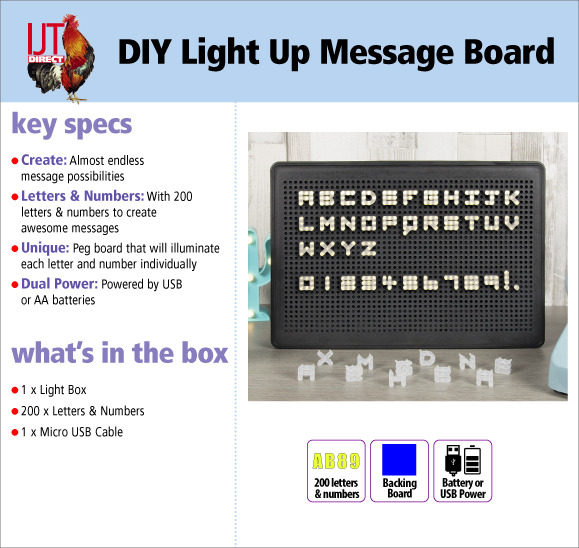 Object DIY LED Light Up Message Board with 200 letters and numbers Brand New for £9.95