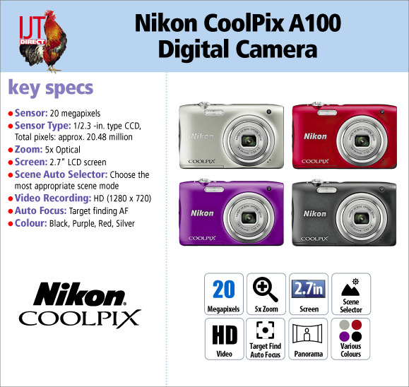 Nikon CoolPix A100 5x Optical Zoom Compact Digital Camera in Various Colours for £69.95