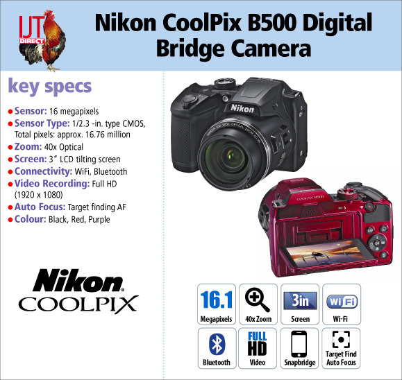 Nikon CoolPix B500 16MP 40x Zoom Digital Bridge Camera in various colours for £149.95