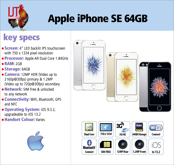 Apple iPhone SE 64GB unlocked & SIM free smartphone available in Space Grey, Silver, or Gold from £189.95