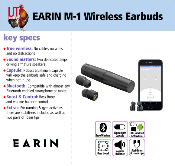 EARIN M-1 True Wireless Bluetooth Earbuds Headphones brand new for iOS Android & Windows for only £39.95